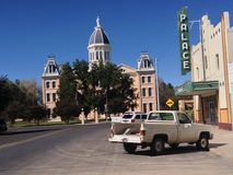 Downtown Marfa, TX. Historic Marfa, TX downtown looking toward the courthouse and the Palace theater Royalty Free Stock Photo