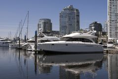 Downtown Marina. A marina in Yaletown, Vancouver, BC, Canada royalty free stock photo