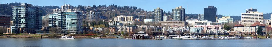 Downtown marina & waterfront Portland OR. Royalty Free Stock Photos