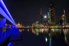 Downtown of Melbourne. At night, Yarra river Royalty Free Stock Photo