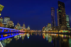 Downtown of Melbourne at night. Yarra river Stock Photography