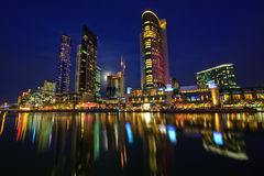 Downtown of Melbourne at night. Yarra river Royalty Free Stock Photo