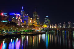Downtown of Melbourne at night. Yarra river Royalty Free Stock Photos
