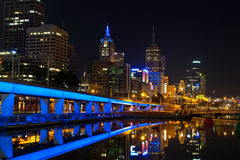 Downtown of Melbourne at night Stock Photo