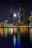Downtown of Melbourne at night. Yarra river Royalty Free Stock Images