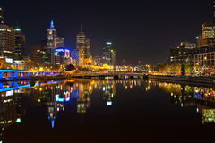 Downtown of Melbourne at night. Yarra river Royalty Free Stock Image