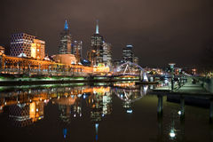 Downtown Melbourne by night Royalty Free Stock Photos