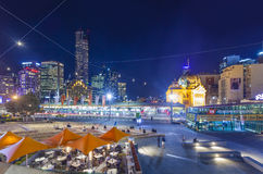 Downtown Melbourne at night Stock Photos