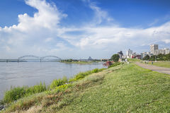 Downtown Memphis and The Hernando-DeSoto Bridge Stock Photography