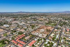 Aerial view of downtown Mesa, Arizona. Downtown Mesa, Arizona aerial view looking to the northwest from over third avenue near Mesa Drive showing construction royalty free stock photography
