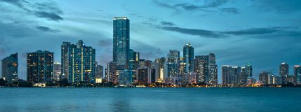Downtown Miami. View of downtown miami from the rickenbacker causeway royalty free stock photos