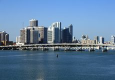 Downtown Miami. Florida.  Biscayne Bay bridge shown in front of towering skyscrapers Stock Image