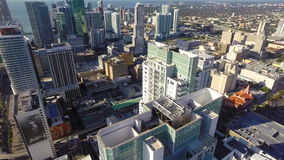 Downtown Miami aerial flyover Stock Image