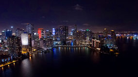 Downtown Miami Aerial Night Skyline Royalty Free Stock Images
