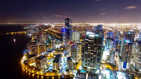 Downtown Miami Aerial Night Skyline. With beautiful reflection of the water in the bay royalty free stock image