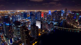 Downtown Miami Aerial Night Skyline. With beautiful reflection of the water in the bay royalty free stock photography