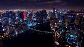 Downtown Miami Aerial Night Skyline Stock Photos