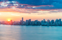 Downtown Miami aerial skyline at dusk Stock Image