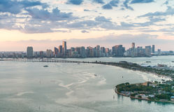 Downtown Miami aerial skyline at dusk Royalty Free Stock Photography
