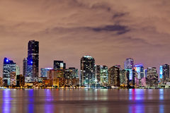 Downtown Miami Bayfront at Night. The downtown Miami bayfront at night, showing hotels, condos and office buildings Stock Photos