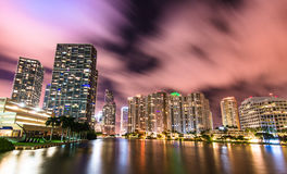 Downtown Miami from Brickell Key. A view of downtown miami from the brickell key bridge in florida stock image