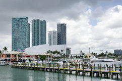 Downtown Miami, decks, restaurant and boats Royalty Free Stock Photos