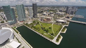 Downtown Miami drone aerial stock footage