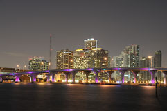 Downtown Miami at night Royalty Free Stock Photo