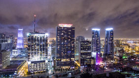 Downtown Miami at night, aerial view Stock Photography