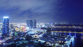 Downtown Miami at night, aerial view Royalty Free Stock Photo