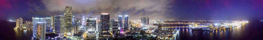 Downtown Miami at night, panoramic aerial view Royalty Free Stock Photos