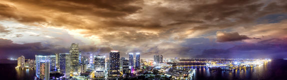 Downtown Miami at night, panoramic aerial view Stock Image