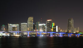 Downtown Miami Skyline at Night Stock Photos