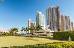 Downtown Miami skyscrapers from Bayfront Park.  Stock Photos