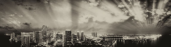 Downtown Miami at sunset, aerial panoramic view Stock Photography