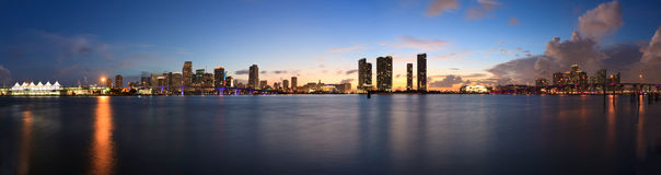 Downtown Miami Sunset Panorama Royalty Free Stock Photography