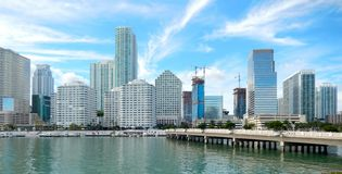 Downtown Miami view along Biscayne Bay Royalty Free Stock Photo