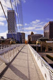 Downtown Milwaukee from Calatrava Exhibit. A view of downtown Milwaukee, Wisconsin from across the pedestrian bridge at the Calatrava Exhibit Royalty Free Stock Photo