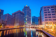 Downtown Milwaukee skyline in USA. Downtown skyline with Buildings along the Milwaukee River at night, in Milwaukee, Wisconsin Royalty Free Stock Photos