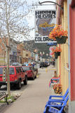 Downtown Miner Street on a Spring Day Royalty Free Stock Photography
