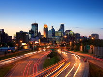 Downtown Minneapolis. And Haighway 35W at dusk Royalty Free Stock Photos