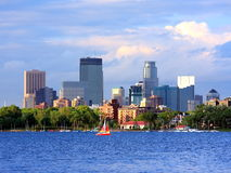 Downtown Minneapolis. Lake Calhoun view Royalty Free Stock Images