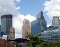 Downtown Minneapolis Buildings. Cityscape of modern, historic and landmark buildings in downtown Minneapolis, Minnesota, USA Stock Photos