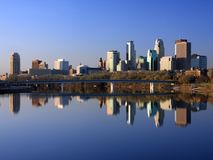 Downtown Minneapolis horizontal view Royalty Free Stock Images
