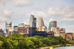 Downtown Minneapolis, Minnesota. With Mississippi river in the morning stock photography
