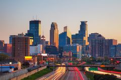 Downtown Minneapolis, Minnesota. At the sunrise Royalty Free Stock Photo