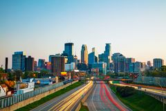 Downtown Minneapolis, Minnesota. At the sunrise Royalty Free Stock Photos