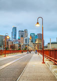 Downtown Minneapolis, Minnesota at night time Royalty Free Stock Photos