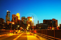 Downtown Minneapolis, Minnesota at night time Royalty Free Stock Image