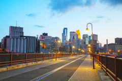 Downtown Minneapolis, Minnesota at night time Stock Photography